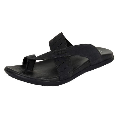 Lotus Bawa Black Mens Leather Thong Slippers, Size: 6 - 11
