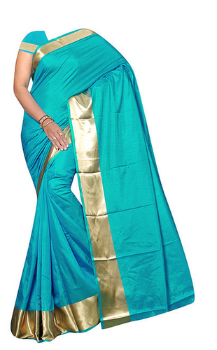 46b18fba41 Party Wear Plain Peacock Blue Sana Silk Saree with Golden Border, 6.3 m  (with