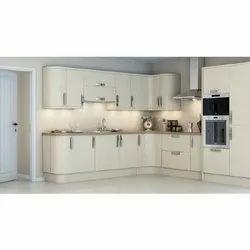 L Shape White Color PVC Modular Kitchen