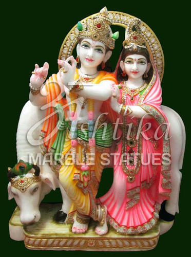 ashtika marble statue white marble radha krishna statue with cow rs