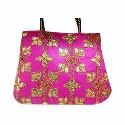 Pink Embroidered Gota Patti Ladies Bag