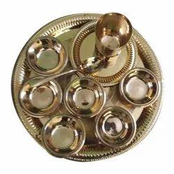 Round Brown Brass Dinner Plates Set, Size: 8 Inch, No. of Piece: 10 Pcs