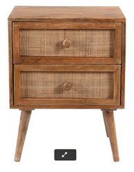 Contemporary Wooden Cane 2 Drawers Side Table, For Hotel, Size: Standard