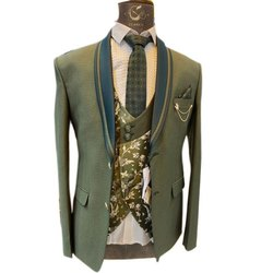 Wedding Green Mens Regular Fit 5 Piece Suit, Size: 34-52