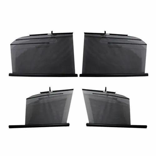 Black Polyester Car Window Roller Sunshades, For Heat Reflector