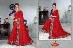 Dyed Dola Silk Embroidery work Saree with Lace - Palash