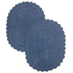 Cotton Shaggy Bath Rug Oval Shape 24X17 Blue Color Large Standard Outdoor Rug Set Of 2