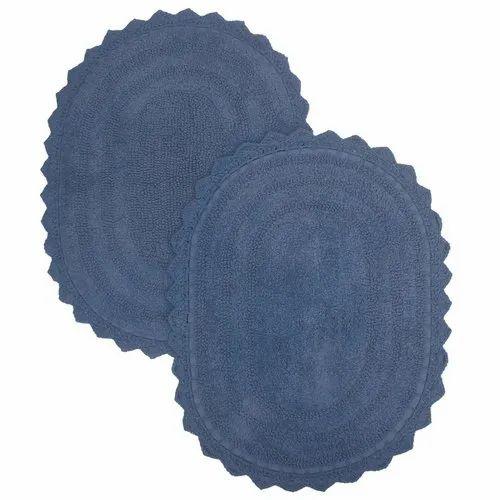 Bath Rug Oval Shape 24x17 Blue Color