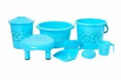 Plastic Bathroom Set,  (8 Pisces set ) Leaf Print