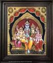 Siva, Parvathi Family Tanjore Art Paintings