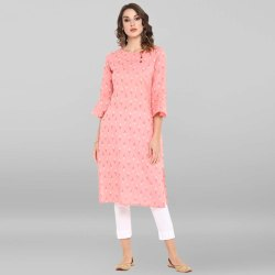 Janasya Women's Pink Pure Cotton Kurta