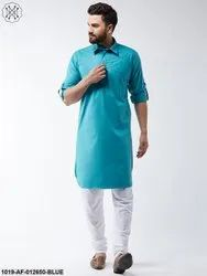 Cotton Peacock Blue Solid Pathani Kurta & White Churidar Pyjama Set