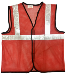 Reflective Vizwear Vests / Jackets 2 Red Front Opening In Mesh Fabric