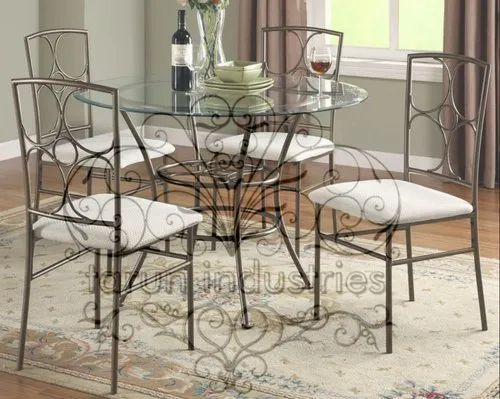 4 Seater Wrought Iron Dining Table Set, Wrought Iron Dining Room Table