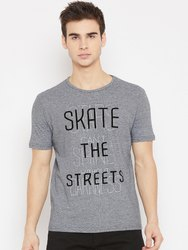 Mens Round Neck Casual Wear Striped Printed T-Shirt