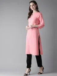 Casual Wear Straight Rayon Kurta, Machine Wash