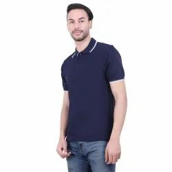 Male Navy Blue, White Cotton Half Sleeves Collar T Shirt, Size: Medium