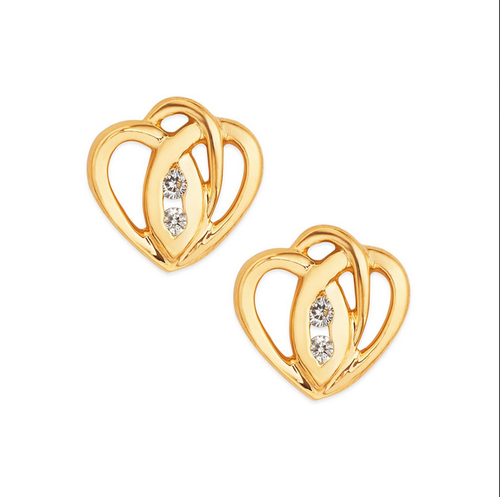 Tanishq 18kt Yellow Gold Diamond Heart Studs Earring