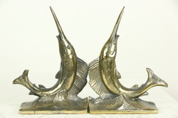 Sailfish Pair Of Vintage Brass Bookends
