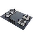 Black Toughened Glass Square Plates Gas Stove, For Kitchen