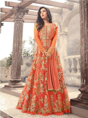 37b8c060c89 Embroidered Net Orange Anarkali Suit