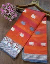 Banarasi Silk Traditional Wear Dark Orange Sarees With Blouse Piece