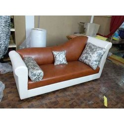 Leather Brown and White Modern Sofa
