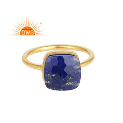 Handmade Yellow Gold Plated 925 Silver Lapis Lazuli Gemstone Rings