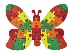 WOODYKRAFT Wooden Shaped Colored Butterfly Puzzle With 26 Alphabets And Numbers
