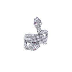 Diamond Two Headed Snake Ring
