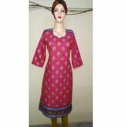 Cotton Ladies 3/4th Sleeve Printed Kurti, Size: XL