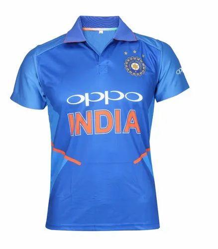 246ccc59aff Men Blue Plain 2019 Oppo Team India Jersey