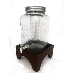 Glass Juice Jar with Wooden Base