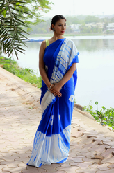Blue And White Casual Wear And Festive Wear Tye And Dye Shibori Saree, With Out Blouse Piece