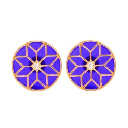 925 Silver Motif On Blue Stone Cufflinks