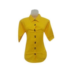 Cotton Yellow Plain Ladies Shirts