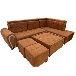 Suede Fabric 7 Seater L Shape Sofa Set