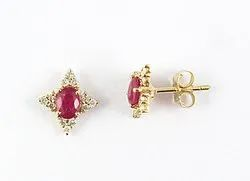 14k Ruby And Diamond Yellow Gold Earring
