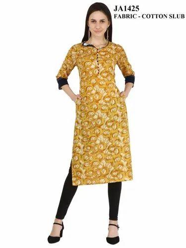 Mustard Printed Straight Cotton Slub Kurti