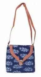 Cotton Adjustable Ikkat Sling Bag, Size: 9 * 9 Inch