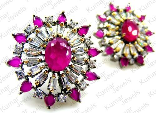 Ar Jewels Engagement Party Cly Hot Pink Oval Shaped Stud Earring