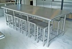 Polished Stainless Steel Dining Table, Shape: Rectangular