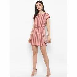 Polyester Half Sleeve Striped Short Western Dress