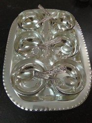 Silver Coated Plain Bowl With Tray Set