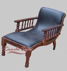 Dwarka Impex Walnut Wooden Rest Chair, Pool Side Chair, Deck Chair