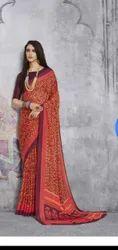 Ishika Fomal Wear Crape Silk Sarees, 6.3 m (With Blouse Piece)