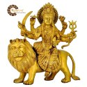 Golden (gold Plated) Brass Durga Mata Statue For Decor