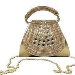 Party Wear Stylish Clutch Bag With Short Chain Sling