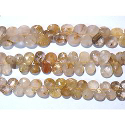 Golden Rutilated Quartz Faceted Gemstone Beads