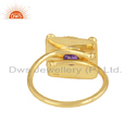 Vintage Design 18K Gold Plated Silver Natural Amethyst Ring Jewelry